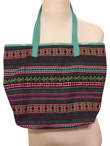 Target Tote in Muticolor Aztec Print w/ blue Straps