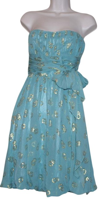 Item - Blue Gold Print Silk Draped Strapless Party Short Cocktail Dress Size 4 (S)