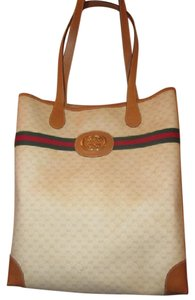Gucci Great For Everyday Xl Satchel/tote Stripe/gold Mint Vintage W Tote in ivory coated canvas/camel G logo/leather & red/green striped & gold GG logo accent