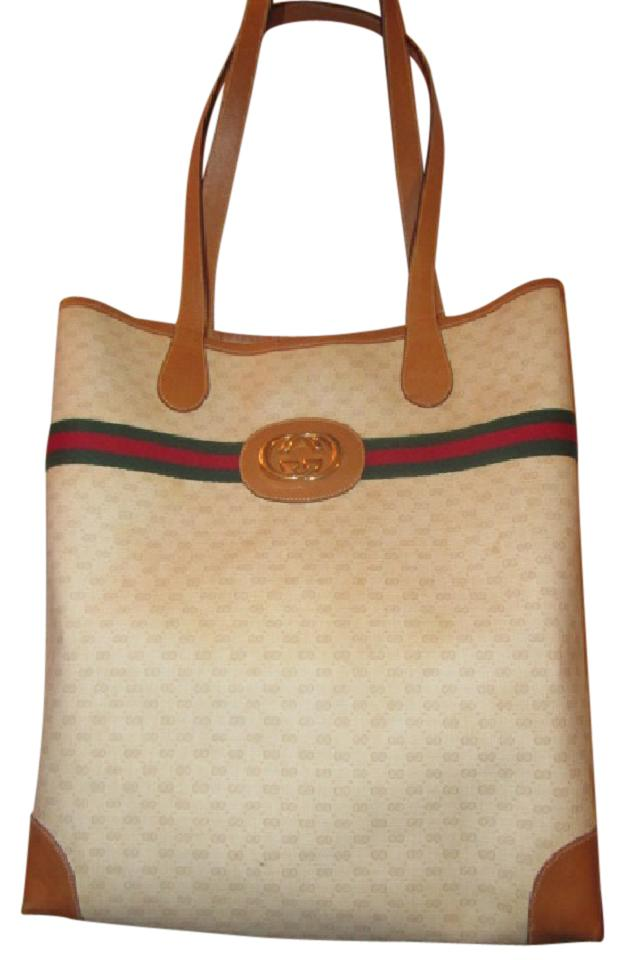 ed20d3a29482c Gucci Great For Everyday Xl Satchel Tote Stripe Gold Mint Vintage Ivory Camel  ...