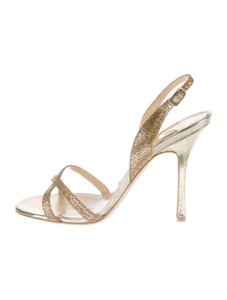 Jimmy Choo Ingrid Glitter Gold Sandals