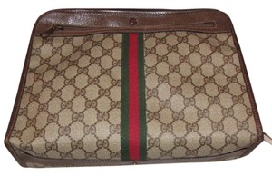 Gucci Rare Style Early High-end Bohemian Two-way Style Mint Vintage Satchel in brown large G logo print coated canvas & leather with red/green center stripe
