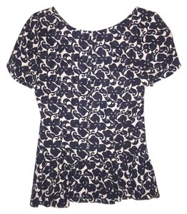 Anthropologie Peplum Maple Print Top Navy and White