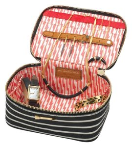 Stella & Dot Designer Makeup Travel Cream & Black Travel Bag