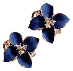 Other Royal Blue Sterling Silver Gold Plated Camellia Statement Stud Earring
