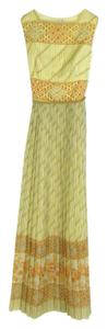 Yellow Maxi Dress by Alfred Shaheen Maxi Goen Vintage Embroidered Belted
