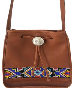 Brighton Usa Craftmanship Native American Colorful Beading Southwestern Theme tan Messenger Bag
