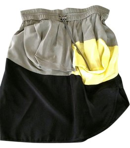 Alexander Wang Silk Color-blocking Out Date Night Mini Skirt Grey-green, black, bright yellow