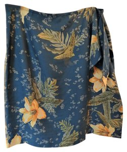 Tommy Bahama Silk Floral Tropical Blue Skirt Blue Yellow