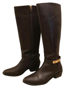 Coach Leather Knee-high Equestrian Gold Buckle Chestnut Boots