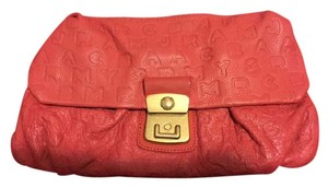 Marc by Marc Jacobs Monogram Leather Red Textured Orange-Red Clutch