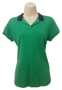 Neiman Marcus Contrast Polo Top Green