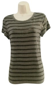 Ann Taylor Sequin Striped Short Sleeve T Shirt Gray