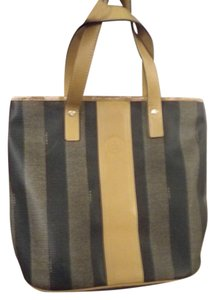Fendi Vintage Classic Gold Hardware Striped Leather Tote in Brown