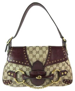 Gucci Leather Tote Gg Brown Horsebit Shoulder Bag