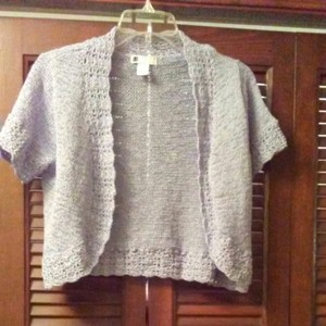 Carole Little Lace Sweater Top Powder Blue