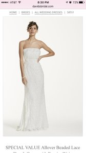 Galina Davids Bridal All Over Beaded Lace Sheath Gown Wedding Dress