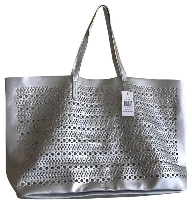 Item - Bag Shopper Weekender Purse Silver Faux Leather Tote
