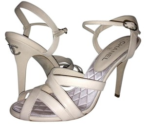 Chanel Crystal Jewel Strappy Ankle Strap Ivory Sandals