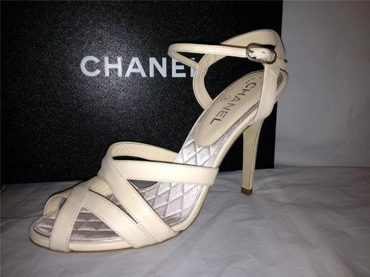 Chanel Crystal Jewel Strappy Ankle Strap Ivory Sandals Image 10