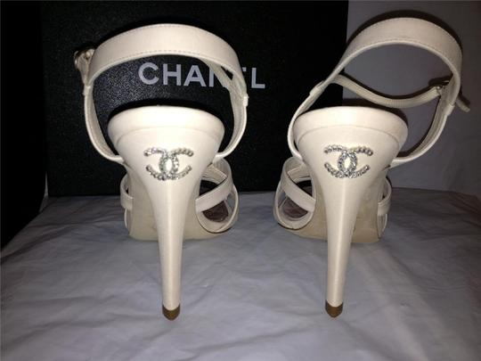 Chanel Crystal Jewel Strappy Ankle Strap Ivory Sandals Image 3