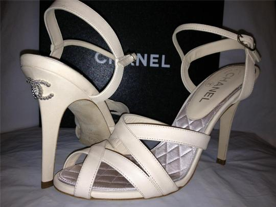 Chanel Crystal Jewel Strappy Ankle Strap Ivory Sandals Image 4