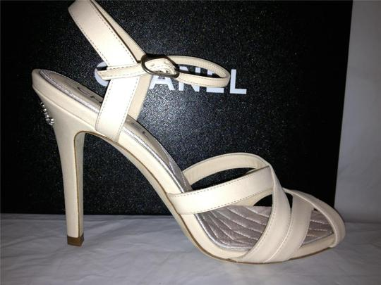 Chanel Crystal Jewel Strappy Ankle Strap Ivory Sandals Image 5