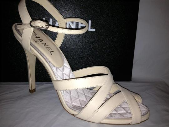 Chanel Crystal Jewel Strappy Ankle Strap Ivory Sandals Image 6