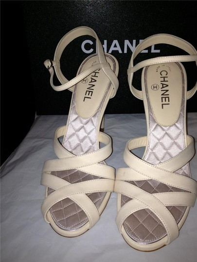 Chanel Crystal Jewel Strappy Ankle Strap Ivory Sandals Image 8