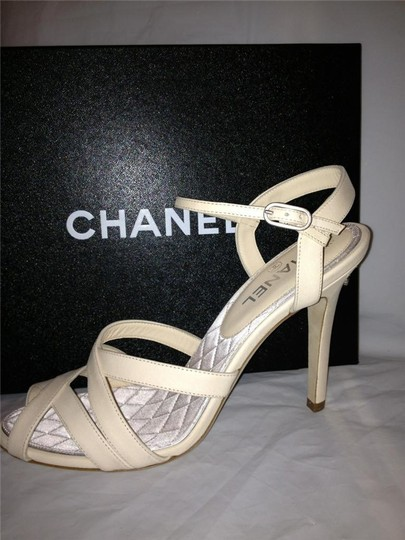Chanel Crystal Jewel Strappy Ankle Strap Ivory Sandals Image 9