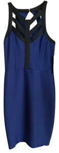 Trixxi short dress Black/Cobalt Scuba Slim Royal Blue Crisscross Strap on Tradesy