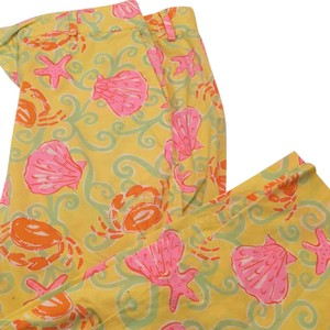 Lilly Pulitzer Capris yellow with shells, starfish, and crabs