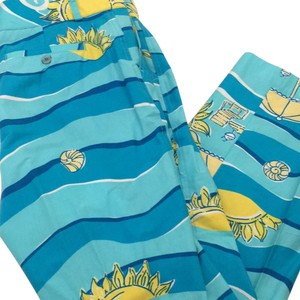 Lilly Pulitzer Capris blues with yellow sun and dots