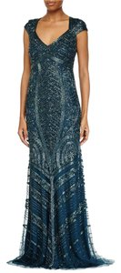 Theia Beaded V-neck Evening Gown Keyhole Dress