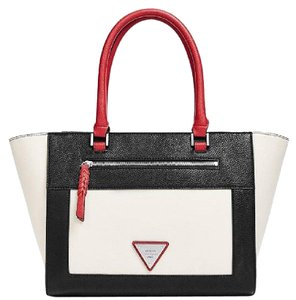 Guess Satchel in multi color white black red