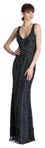 Theia Art Deco Beaded Gown V-neck Evening Dress