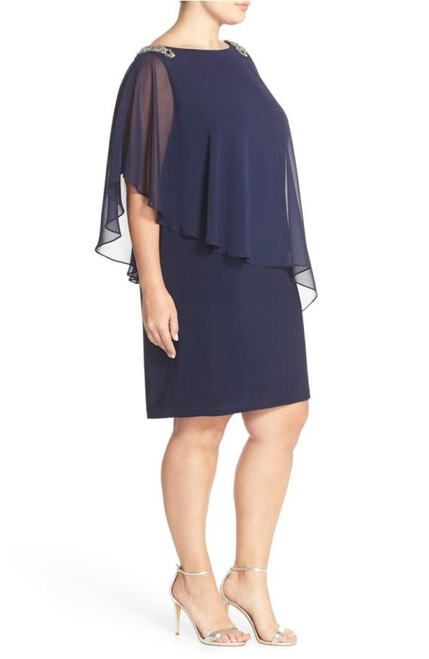 Xscape Navy Womens Capelet Embellished Shift Plus 14w Short Cocktail ...