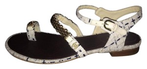Chanel Chain Tweed Plaid Toe Ring White/Ecru/Navy Sandals