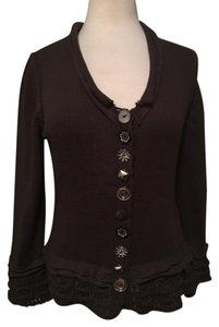 Pure Collection Assorted Buttons Hand Knit Ruffle Cardigan