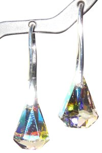 Swarovski Elements Raindrop Crystal AB French pinch Bail Earrings with Swarovski Elements