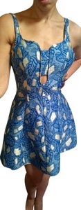 Opening Ceremony Jacquard Fit And Flair Blue Sheath Dress