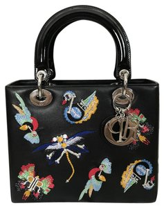 Dior Leather Embroidered Lady Patent Leather Tote in Black