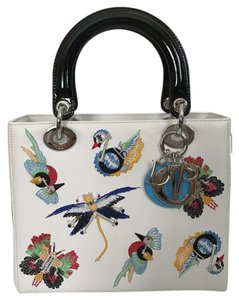 Dior Leather Embroidered Patent Leather Lady Tote in White