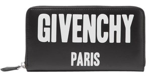 Givenchy BRAND NEW Logo Print Zip Black Leather Wallet