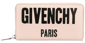 Givenchy BRAND NEW Logo Print Zip Leather Wallet in Pink