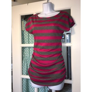 Due Time NWT Pink Gray Striped Maternity Ruched Stretchy Tee Shirt Top