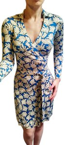 Diane von Furstenberg Dvf Wrap Blue Silk Dress