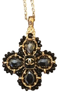 Chanel Chanel Necklace Pendant Gold with Black Crystals