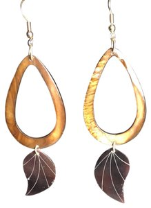 Other tigers eye and leaf earrings