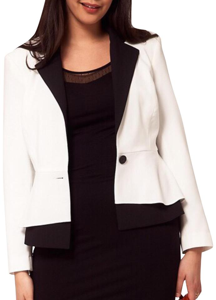be2f12f629b ASOS White Curve Exclusive Peplum Jacket Black Lapels Blazer Size 20 ...